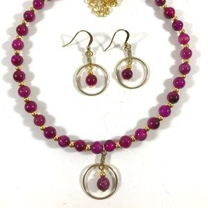 Fuchsia tiger eye necklace